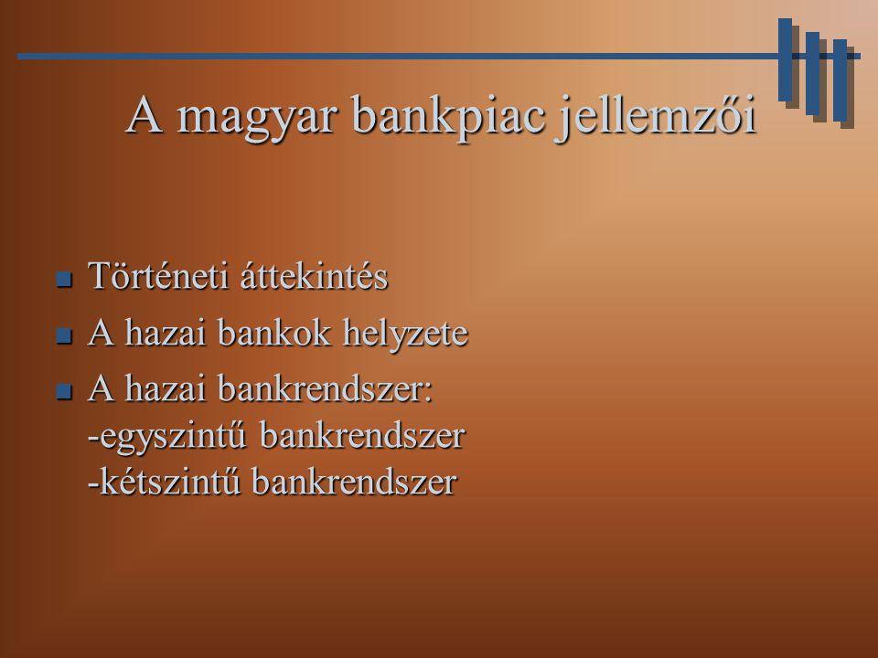 Történeti áttekintés Mérleg főösszeg Saját tőke Pénzintézet Milliárd Ft Megoszlás (%) Milliárd Ft Megoszlás (%) OTP83131,62919,7 MHB357,413,66,34,3 MKB238,39,11610,9 K&H231,78,84,83,3 Postabank168,16,48,35,6 …………… Forrás: Közgazdasági szemle (1995) A bankpiac szerkezete Magyarországon 1993-ban