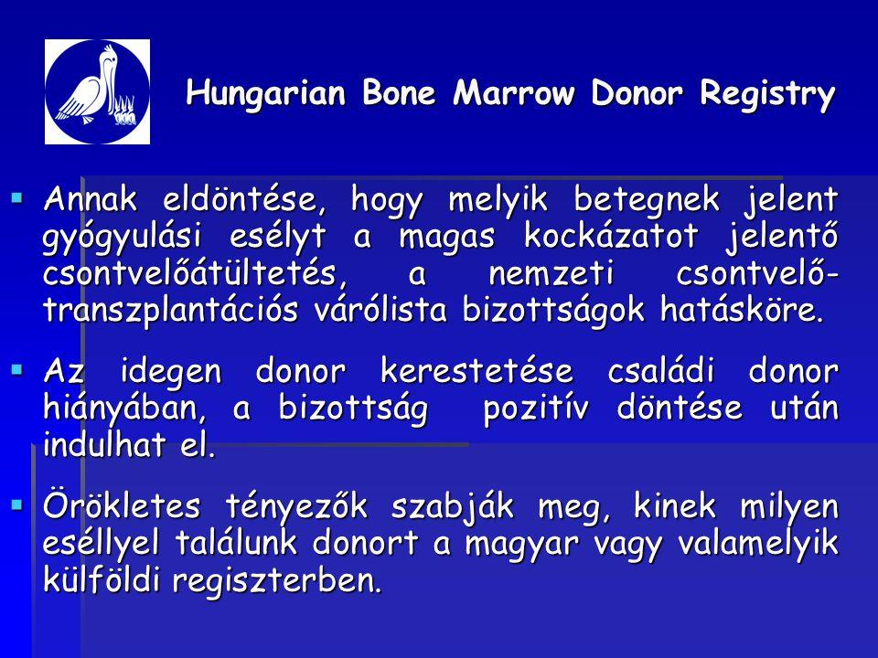  Annak eldöntése, hogy melyik betegnek jelent gyógyulási esélyt a magas kockázatot jelentő csontvelőátültetés, a nemzeti csontvelő- transzplantációs várólista bizottságok hatásköre.