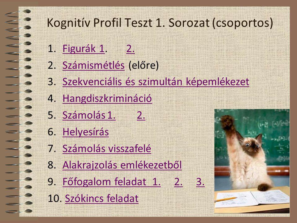 Kognitív Profil Teszt 1. Sorozat (csoportos) 1.Figurák 1. 2.Figurák 12. 2.Számismétlés (előre)Számismétlés 3.Szekvenciális és szimultán képemlékezetSz