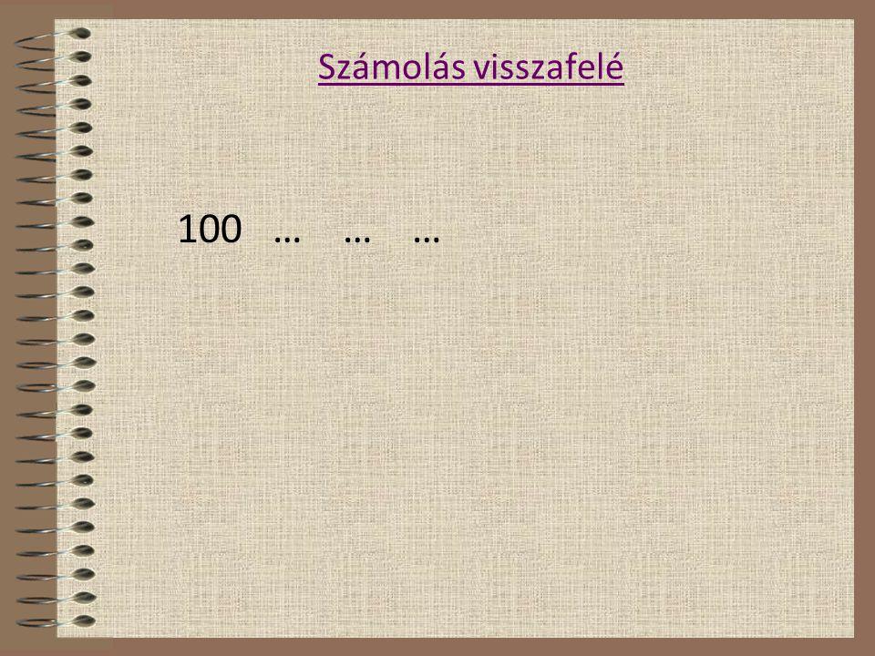 Számolás visszafelé 100 … … …