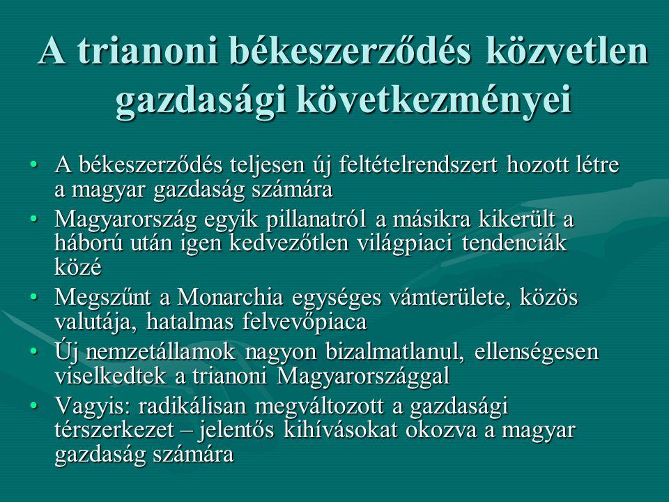 A trianoni békeszerződés közvetlen gazdasági következményei A békeszerződés teljesen új feltételrendszert hozott létre a magyar gazdaság számáraA béke