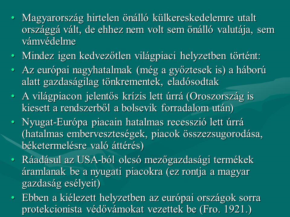 Magyarország hirtelen önálló külkereskedelemre utalt országgá vált, de ehhez nem volt sem önálló valutája, sem vámvédelmeMagyarország hirtelen önálló