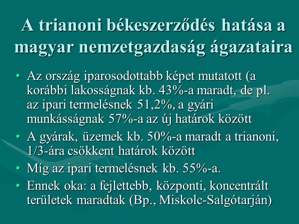 A trianoni békeszerződés hatása a magyar nemzetgazdaság ágazataira Az ország iparosodottabb képet mutatott (a korábbi lakosságnak kb. 43%-a maradt, de
