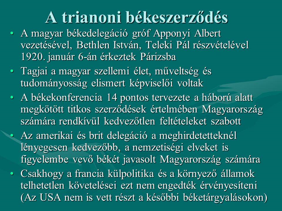 A trianoni békeszerződés A magyar békedelegáció gróf Apponyi Albert vezetésével, Bethlen István, Teleki Pál részvételével 1920. január 6-án érkeztek P
