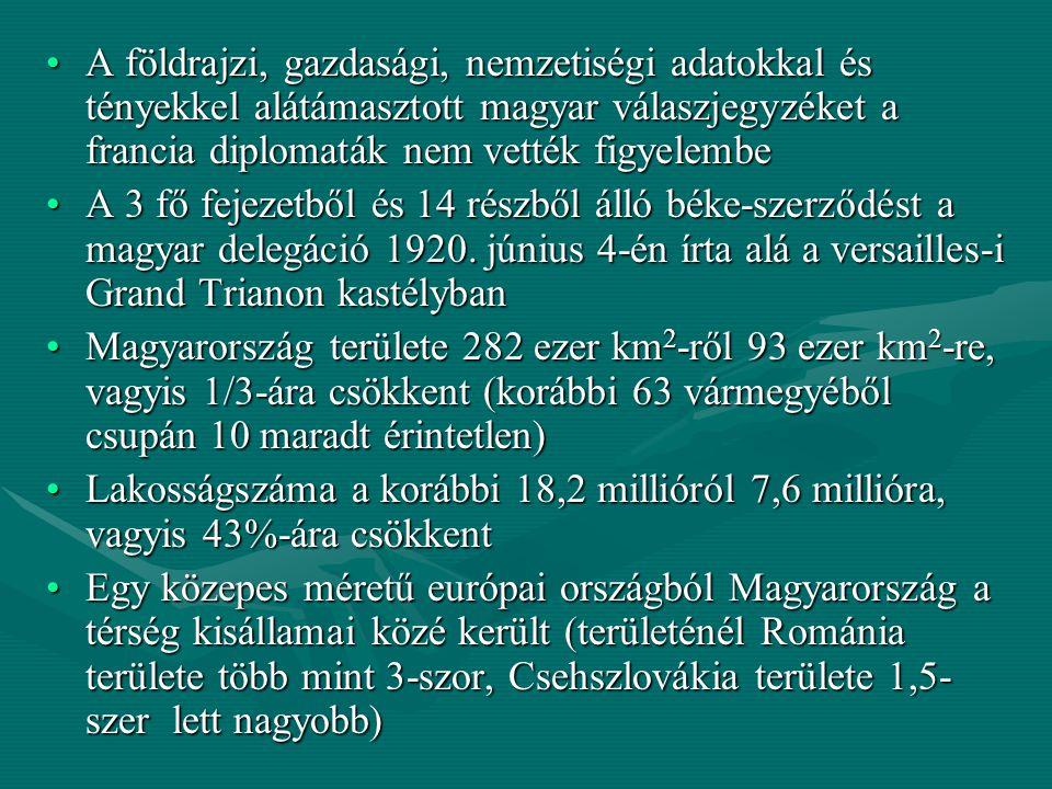 A földrajzi, gazdasági, nemzetiségi adatokkal és tényekkel alátámasztott magyar válaszjegyzéket a francia diplomaták nem vették figyelembeA földrajzi,