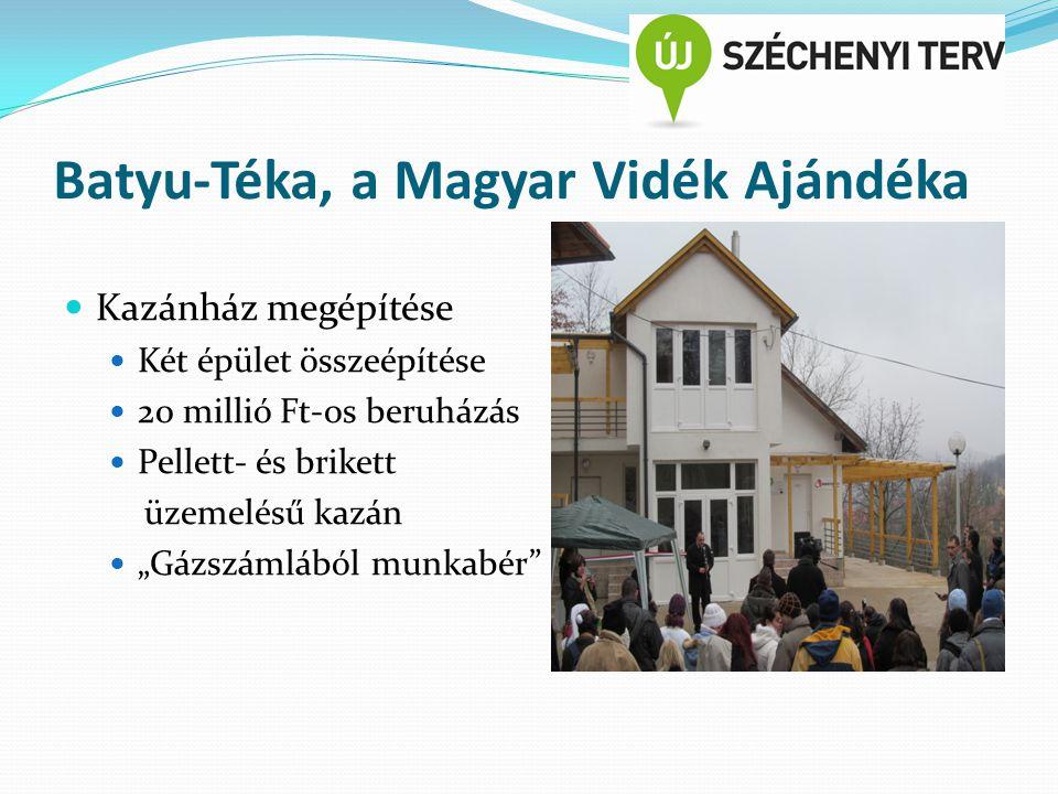 """Batyu-Téka, a Magyar Vidék Ajándéka Kazánház megépítése Két épület összeépítése 20 millió Ft-os beruházás Pellett- és brikett üzemelésű kazán """"Gázszámlából munkabér"""
