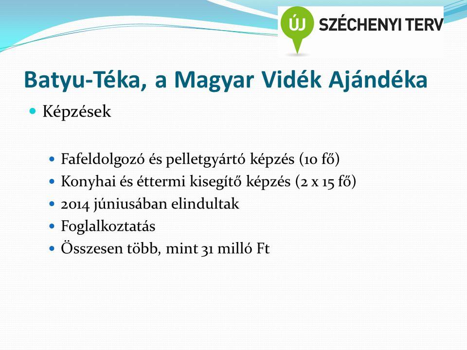 Batyu-Téka, a Magyar Vidék Ajándéka Képzések Fafeldolgozó és pelletgyártó képzés (10 fő) Konyhai és éttermi kisegítő képzés (2 x 15 fő) 2014 júniusában elindultak Foglalkoztatás Összesen több, mint 31 milló Ft