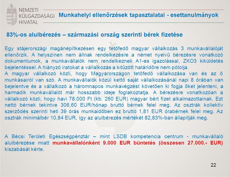83%-os alulbérezés – származási ország szerinti bérek fizetése Egy stájerországi magánépítkezésen egy tetőfedő magyar vállalkozás 3 munkavállalóját el