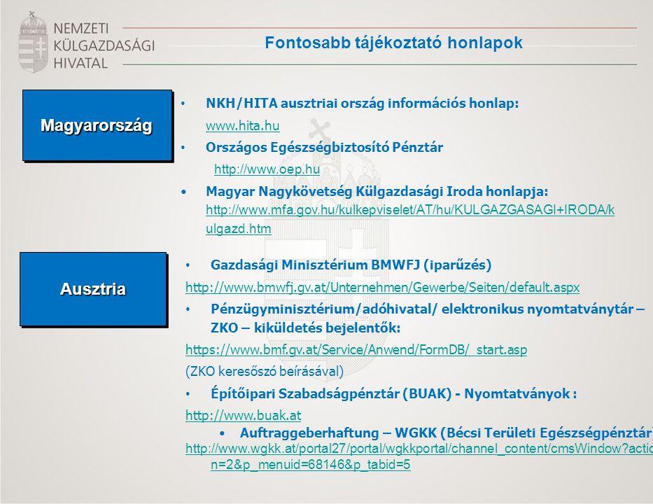 Fontosabb tájékoztató honlapok MagyarországMagyarország NKH/HITA ausztriai ország információs honlap: www.hita.hu Országos Egészségbiztosító Pénztár h