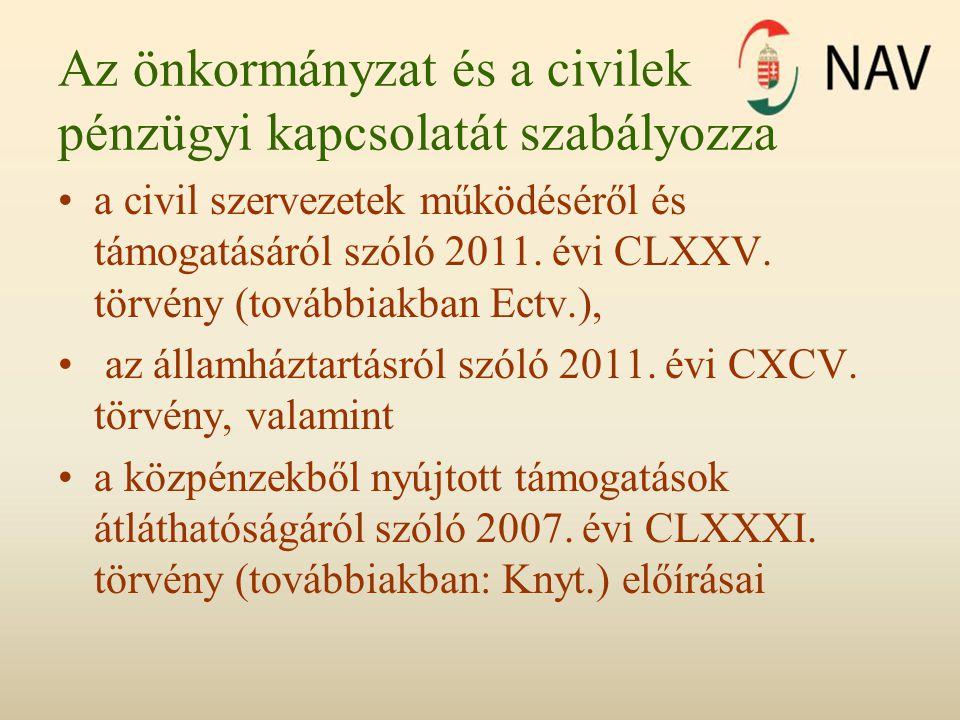 Az önkormányzat és a civilek pénzügyi kapcsolatát szabályozza a civil szervezetek működéséről és támogatásáról szóló 2011.