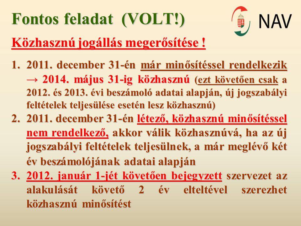 Fontos feladat (VOLT!) Közhasznú jogállás megerősítése .