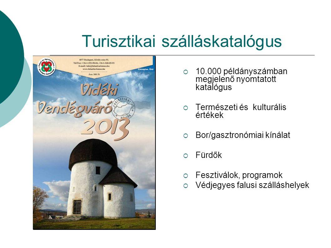 Turisztikai szálláskatalógus  10.000 példányszámban megjelenő nyomtatott katalógus  Természeti és kulturális értékek  Bor/gasztronómiai kínálat  Fürdők  Fesztiválok, programok  Védjegyes falusi szálláshelyek