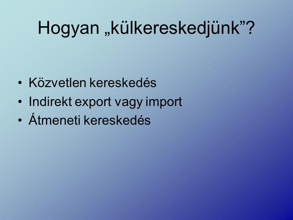 """Hogyan """"külkereskedjünk ? Közvetlen kereskedés Indirekt export vagy import Átmeneti kereskedés"""