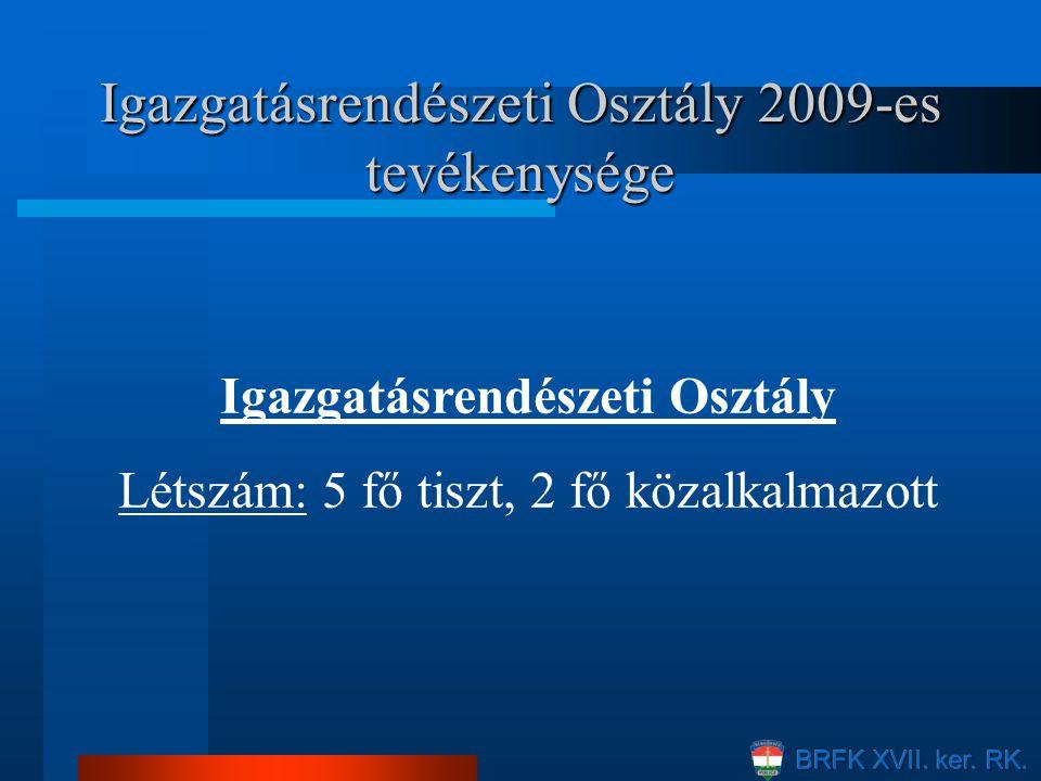 Igazgatásrendészeti Osztály 2009-es tevékenysége Igazgatásrendészeti Osztály Létszám: 5 fő tiszt, 2 fő közalkalmazott