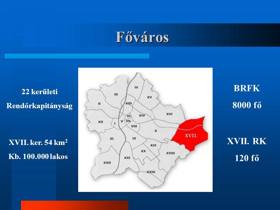 Főváros 22 kerületi Rendőrkapitányság XVII. ker. 54 km 2 Kb. 100.000 lakos BRFK 8000 fő XVII. RK 120 fő