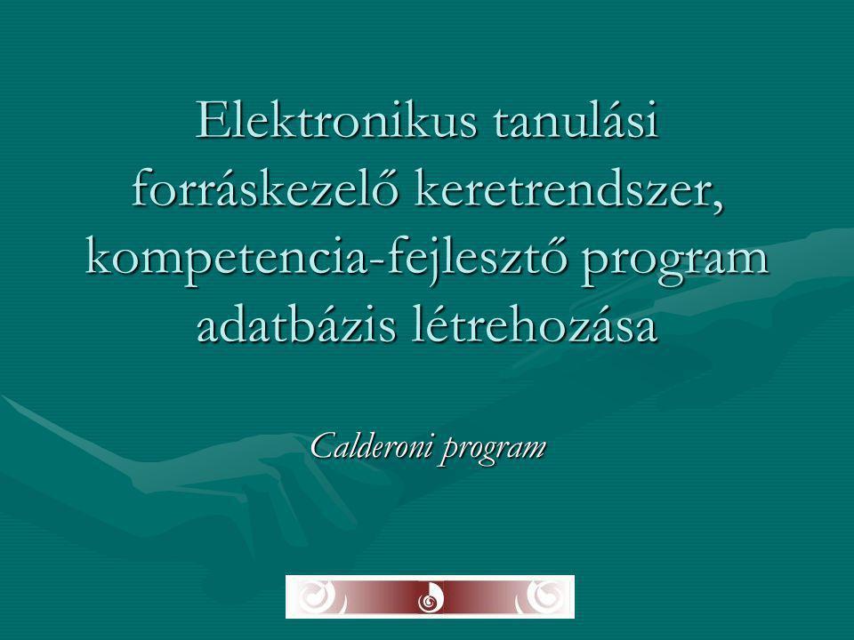 Elektronikus tanulási forráskezelő keretrendszer, kompetencia-fejlesztő program adatbázis létrehozása Calderoni program