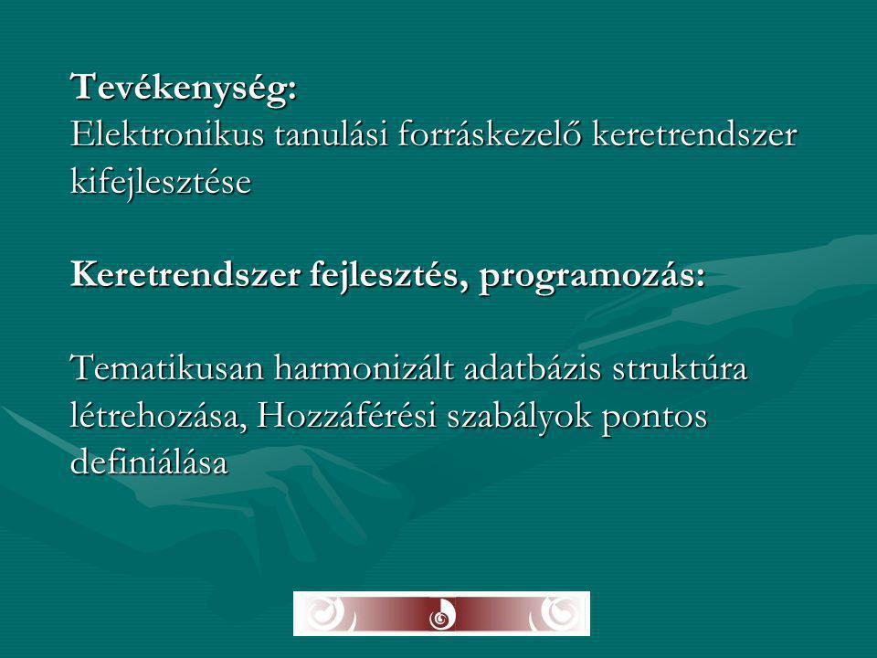 Tevékenység: Elektronikus tanulási forráskezelő keretrendszer kifejlesztése Keretrendszer fejlesztés, programozás: Tematikusan harmonizált adatbázis s