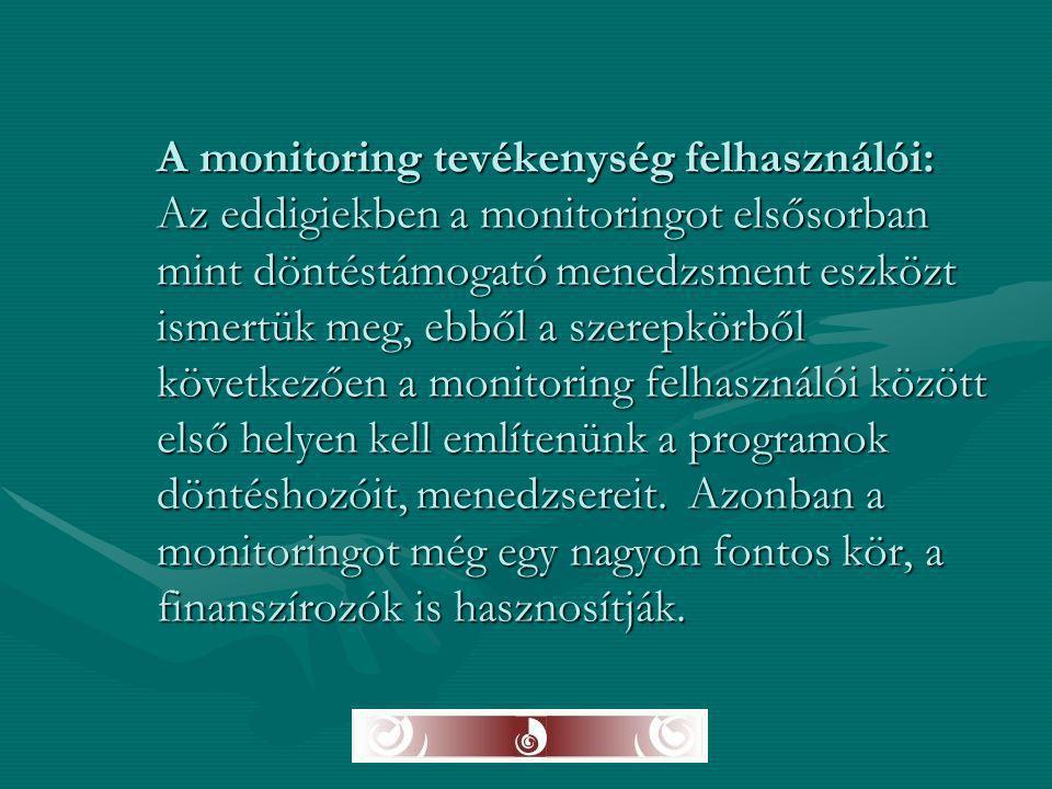 A monitoring tevékenység felhasználói: Az eddigiekben a monitoringot elsősorban mint döntéstámogató menedzsment eszközt ismertük meg, ebből a szerepkö