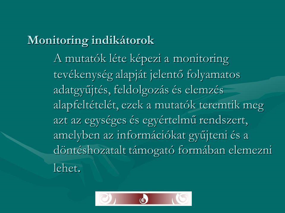 Monitoring indikátorok A mutatók léte képezi a monitoring tevékenység alapját jelentő folyamatos adatgyűjtés, feldolgozás és elemzés alapfeltételét, e