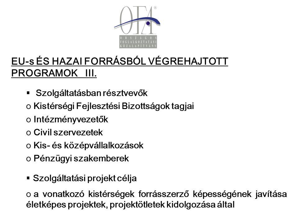 EU-s ÉS HAZAI FORRÁSBÓL VÉGREHAJTOTT PROGRAMOK III.
