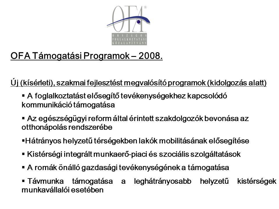 OFA Támogatási Programok – 2008.