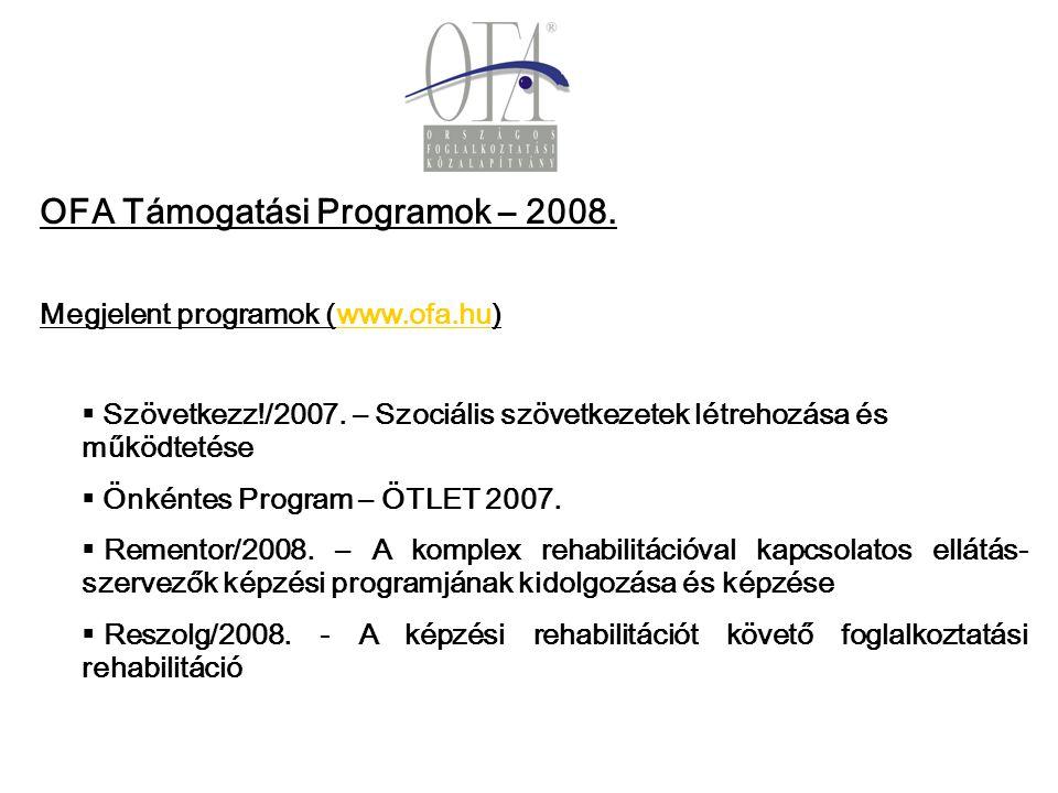 OFA Támogatási Programok – 2008. Megjelent programok (www.ofa.hu)www.ofa.hu   Szövetkezz!/2007.