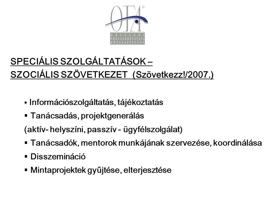 SPECIÁLIS SZOLGÁLTATÁSOK – SZOCIÁLIS SZÖVETKEZET (Szövetkezz!/2007.)   Információszolgáltatás, tájékoztatás   Tanácsadás, projektgenerálás (aktív- helyszíni, passzív - ügyfélszolgálat)   Tanácsadók, mentorok munkájának szervezése, koordinálása   Disszemináció   Mintaprojektek gyűjtése, elterjesztése