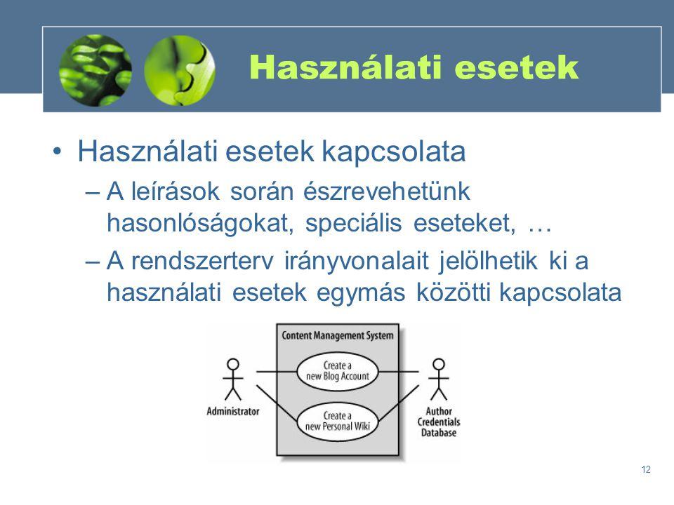 12 Használati esetek Használati esetek kapcsolata –A leírások során észrevehetünk hasonlóságokat, speciális eseteket, … –A rendszerterv irányvonalait