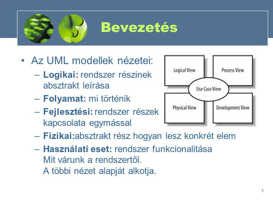 5 Bevezetés Az UML modellek nézetei: –Logikai: rendszer részinek absztrakt leírása –Folyamat: mi történik –Fejlesztési: rendszer részek kapcsolata egy