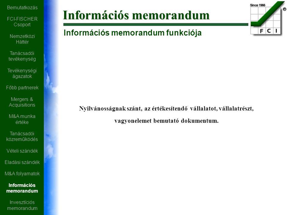 Információs memorandum Nyilvánosságnak szánt, az értékesítendő vállalatot, vállalatrészt, vagyonelemet bemutató dokumentum.