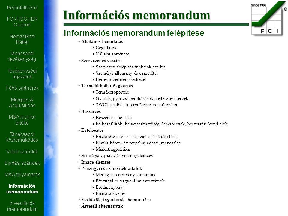 Információs memorandum Információs memorandum felépítése Általános bemutatás Cégadatok Vállalat története Szervezet és vezetés Szervezeti felépítés funkciók szerint Személyi állomány és összetétel Bér és jövedelemszerkezet Termékkínálat és gyártás Termékcsoportok Gyártás, gyártási beruházások, fejlesztési tervek SWOT analízis a termékekre vonatkozóan Beszerzés Beszerzési politika Fő beszállítók, helyettesíthetőségi lehetőségek, beszerzési kondíciók Értékesítés Értékesítési szervezet leírása és értékelése Elmúlt három év forgalmi adatai, megoszlás Marketingpolitika Stratégia-, piac-, és versenyelemzés Image elemzés Pénzügyi és számviteli adatok Mérleg és eredmény-kimutatás Pénzügyi és vagyoni mutatószámok Eredményterv Értékcsökkenés Eszközök, ingatlanok bemutatása Átvételi alternatívák Bemutatkozás FCI-FISCHER Csoport Nemzetközi Háttér Tanácsadói tevékenység Tevékenységi ágazatok Főbb partnerek Mergers & Acquisitions M&A munka értéke Tanácsadói közreműködés Vételi szándék Eladási szándék M&A folyamatok Információs memorandum Invesztíciós memorandum