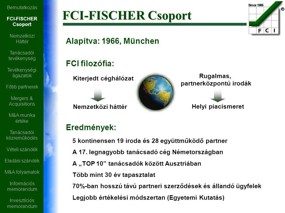 Alapítva: 1966, München FCI filozófia: Nemzetközi háttér 5 kontinensen 19 iroda és 28 együttműködő partner A 17. legnagyobb tanácsadó cég Németországb