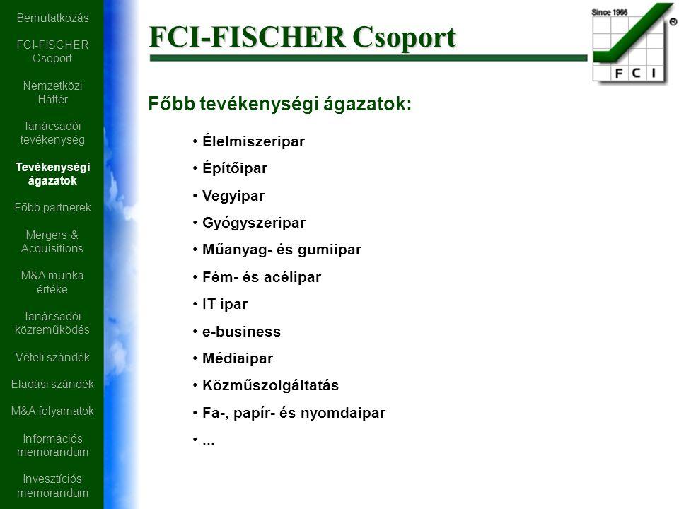 FCI-FISCHER Csoport Főbb tevékenységi ágazatok: Élelmiszeripar Építőipar Vegyipar Gyógyszeripar Műanyag- és gumiipar Fém- és acélipar IT ipar e-business Médiaipar Közműszolgáltatás Fa-, papír- és nyomdaipar...