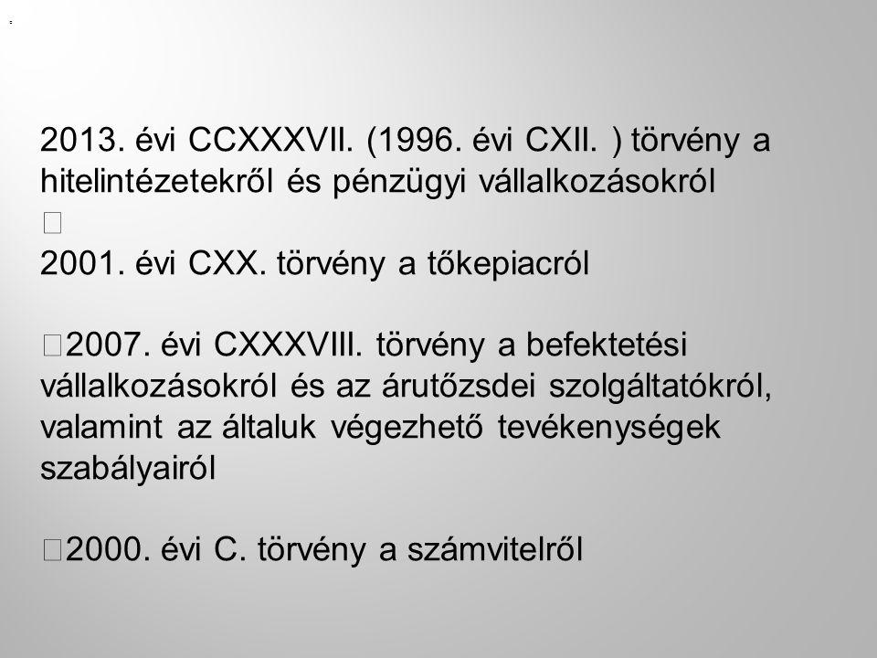 — 2013. évi CCXXXVII. (1996. évi CXII. ) törvény a hitelintézetekről és pénzügyi vállalkozásokról — 2001. évi CXX. törvény a tőkepiacról —2007. évi CX
