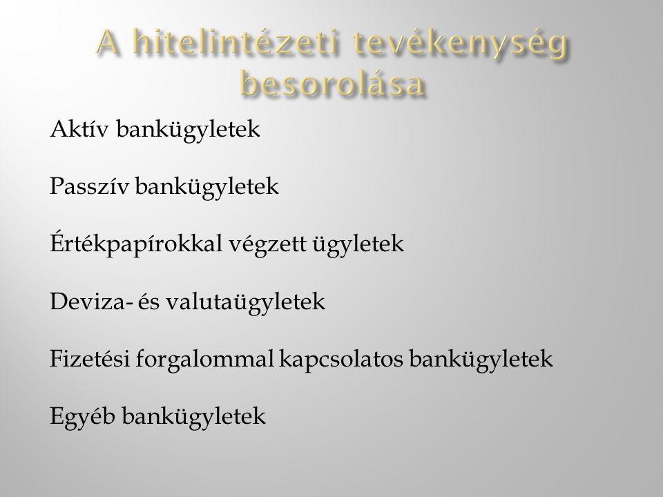 Aktív bankügyletek Passzív bankügyletek Értékpapírokkal végzett ügyletek Deviza- és valutaügyletek Fizetési forgalommal kapcsolatos bankügyletek Egyéb bankügyletek