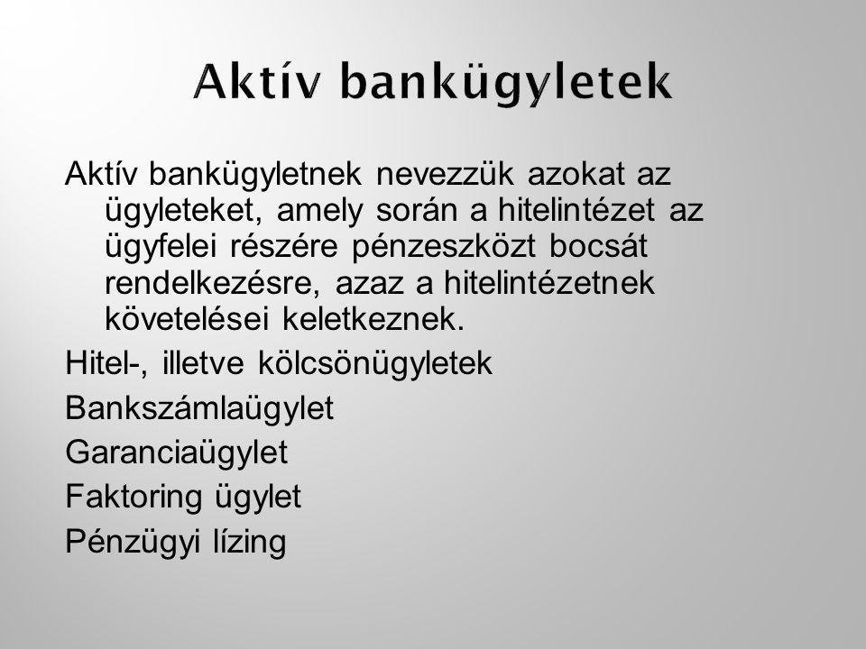 Aktív bankügyletnek nevezzük azokat az ügyleteket, amely során a hitelintézet az ügyfelei részére pénzeszközt bocsát rendelkezésre, azaz a hitelintéze