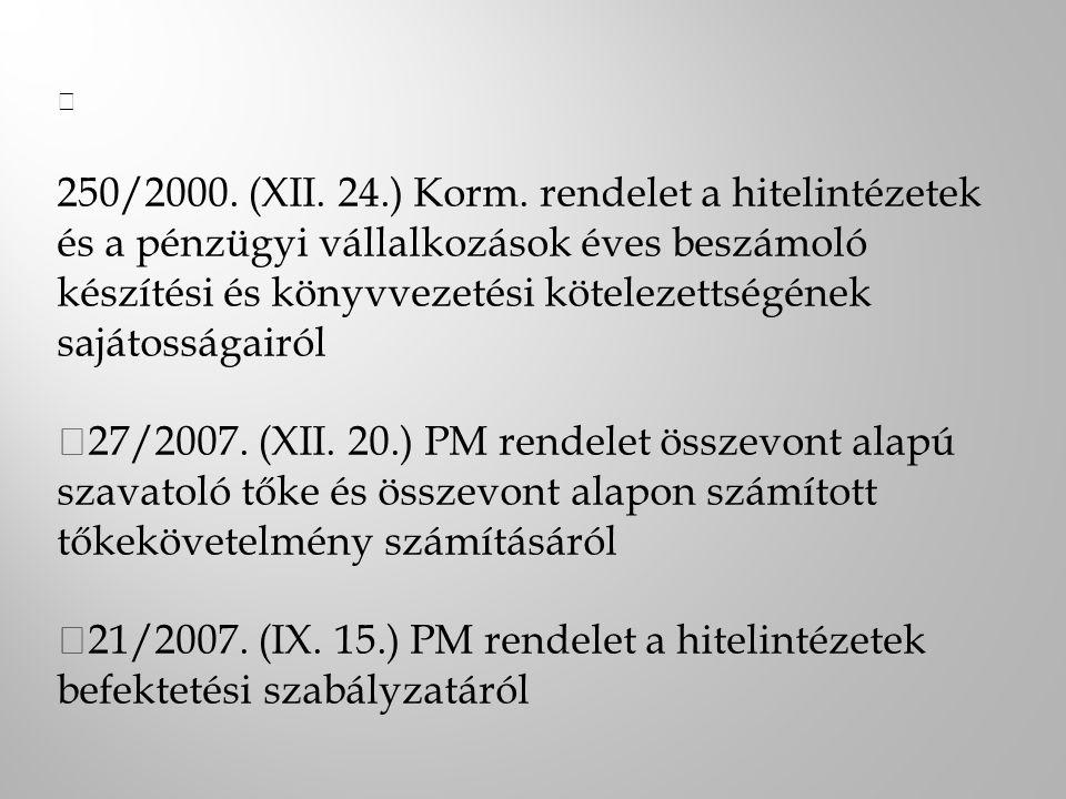 — 250/2000. (XII. 24.) Korm. rendelet a hitelintézetek és a pénzügyi vállalkozások éves beszámoló készítési és könyvvezetési kötelezettségének sajátos