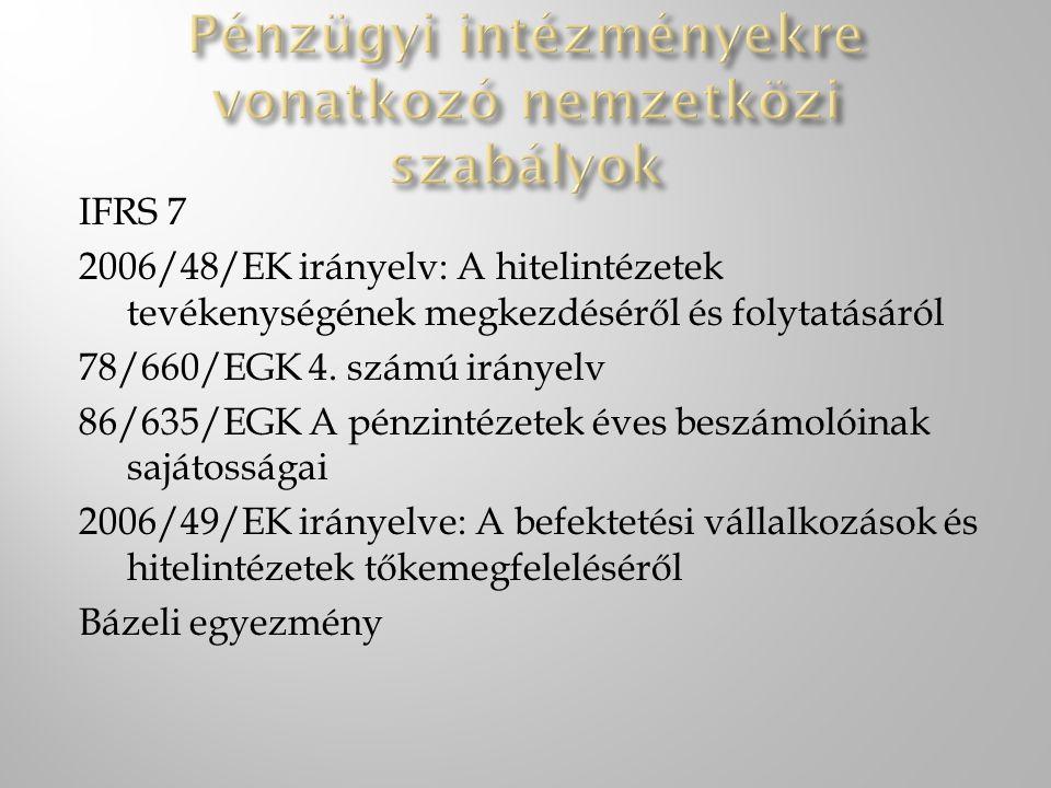 IFRS 7 2006/48/EK irányelv: A hitelintézetek tevékenységének megkezdéséről és folytatásáról 78/660/EGK 4.
