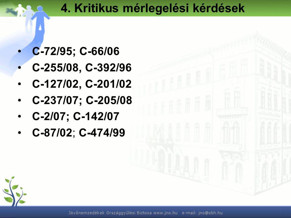 C-72/95; C-66/06 C-255/08, C-392/96 C-127/02, C-201/02 C-237/07; C-205/08 C-2/07; C-142/07 C-87/02; C-474/99 4.