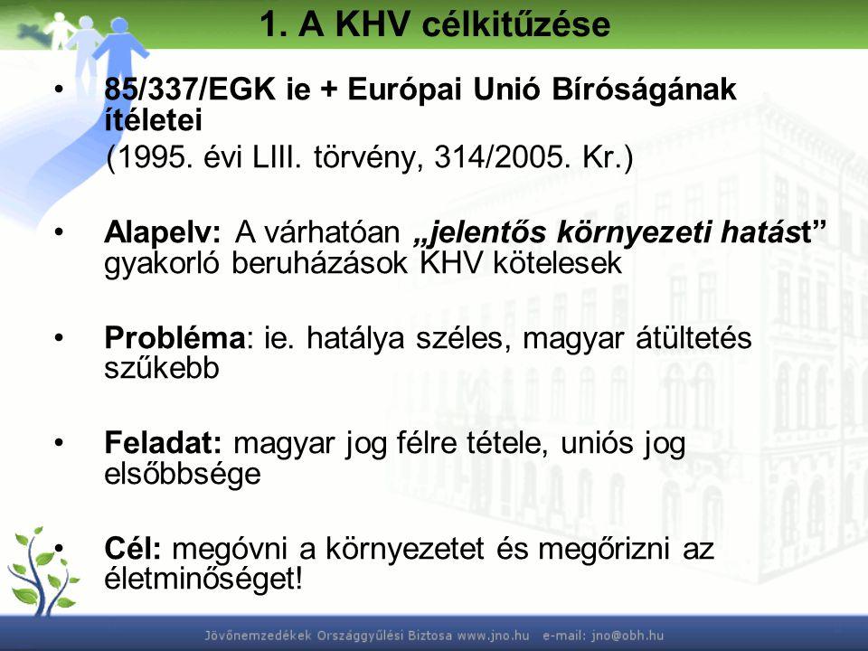 1. A KHV célkitűzése 85/337/EGK ie + Európai Unió Bíróságának ítéletei (1995.