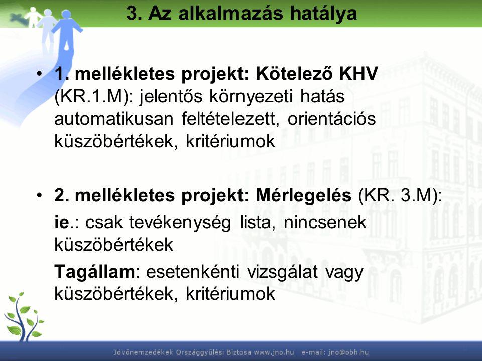 3.Az alkalmazás hatálya 1. Melléklet Távolsági vasútvonalak Min.