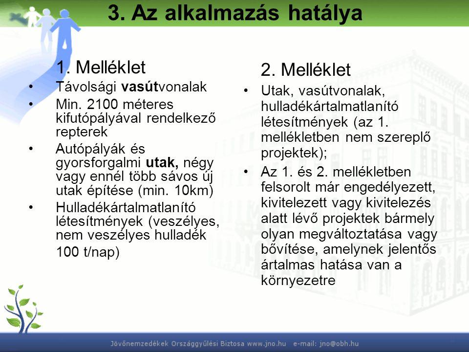 3. Az alkalmazás hatálya 1. Melléklet Távolsági vasútvonalak Min.