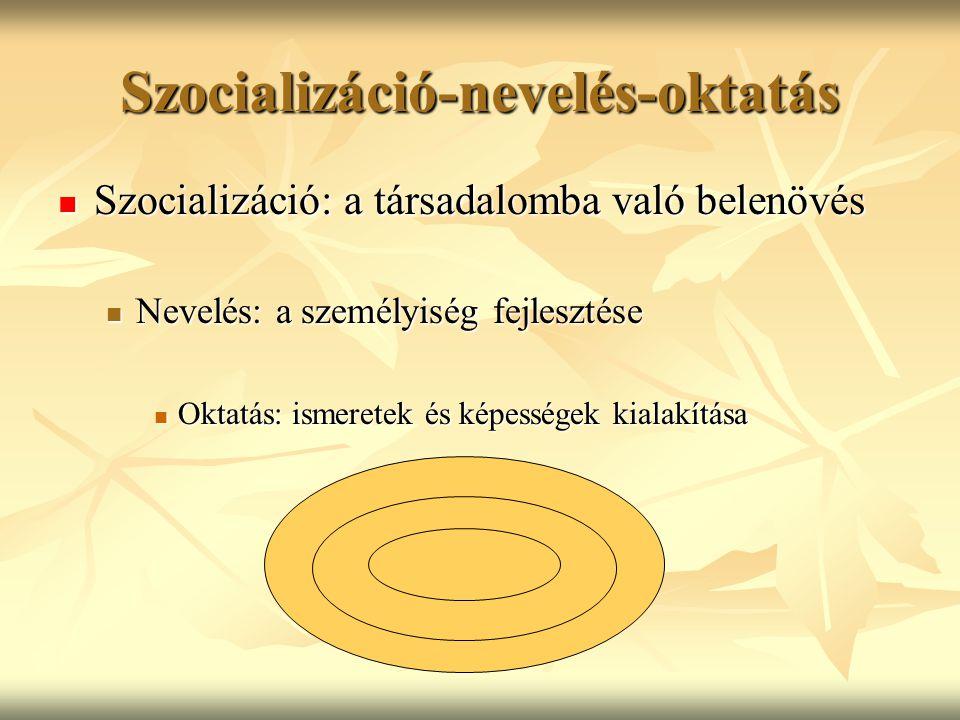 Szocializáció-nevelés-oktatás Szocializáció: a társadalomba való belenövés Szocializáció: a társadalomba való belenövés Nevelés: a személyiség fejlesztése Nevelés: a személyiség fejlesztése Oktatás: ismeretek és képességek kialakítása Oktatás: ismeretek és képességek kialakítása
