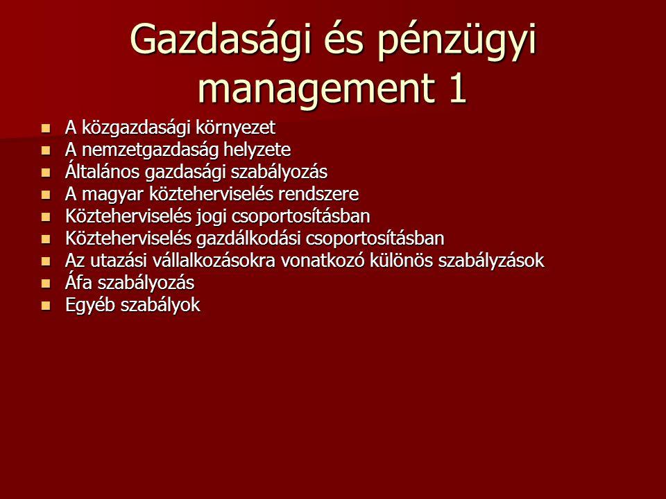 Gazdasági és pénzügyi management 1 A közgazdasági környezet A közgazdasági környezet A nemzetgazdaság helyzete A nemzetgazdaság helyzete Általános gaz