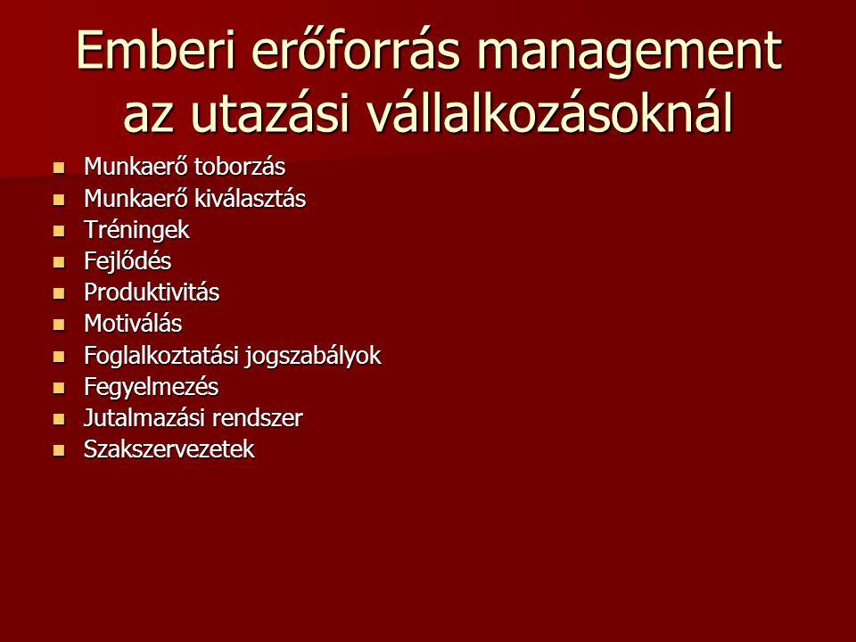Emberi erőforrás management az utazási vállalkozásoknál Munkaerő toborzás Munkaerő toborzás Munkaerő kiválasztás Munkaerő kiválasztás Tréningek Trénin