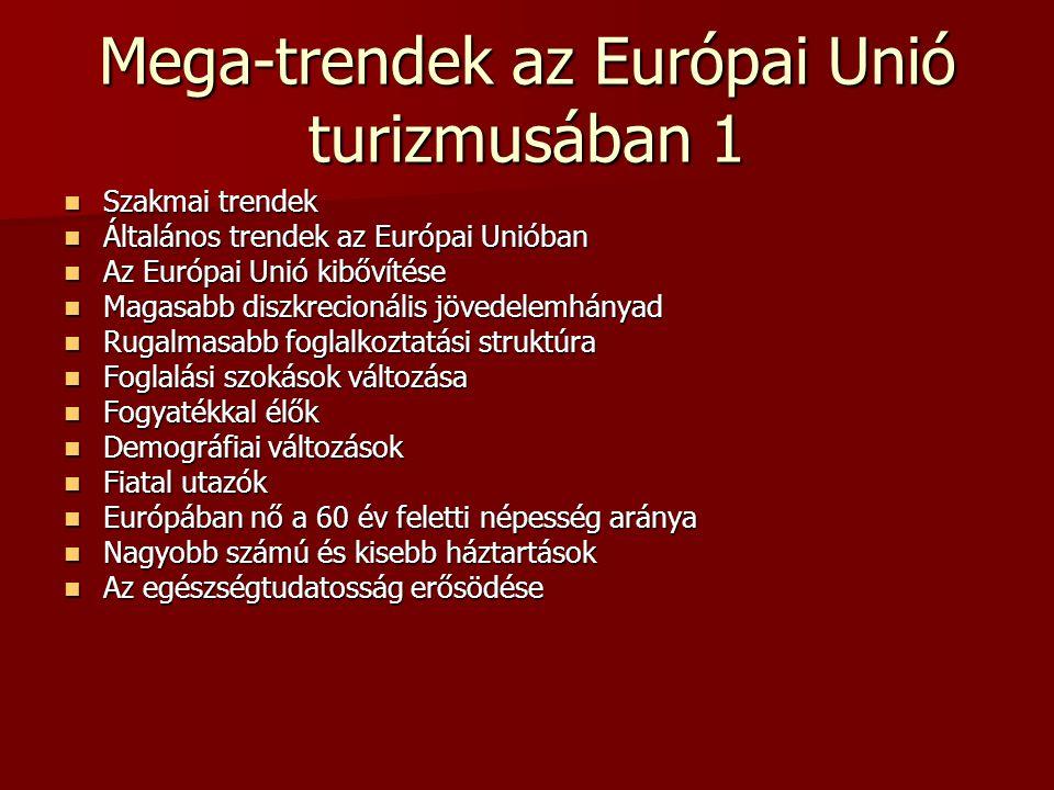 Mega-trendek az Európai Unió turizmusában 1 Szakmai trendek Szakmai trendek Általános trendek az Európai Unióban Általános trendek az Európai Unióban