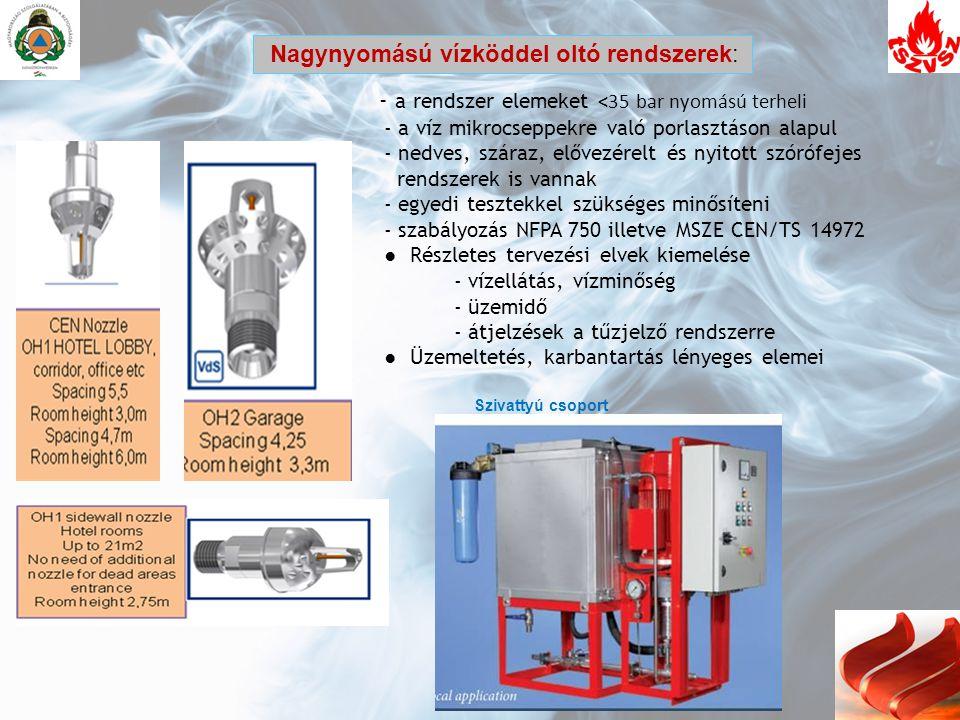 - a rendszer elemeket <35 bar nyomású terheli - a víz mikrocseppekre való porlasztáson alapul - nedves, száraz, elővezérelt és nyitott szórófejes rend