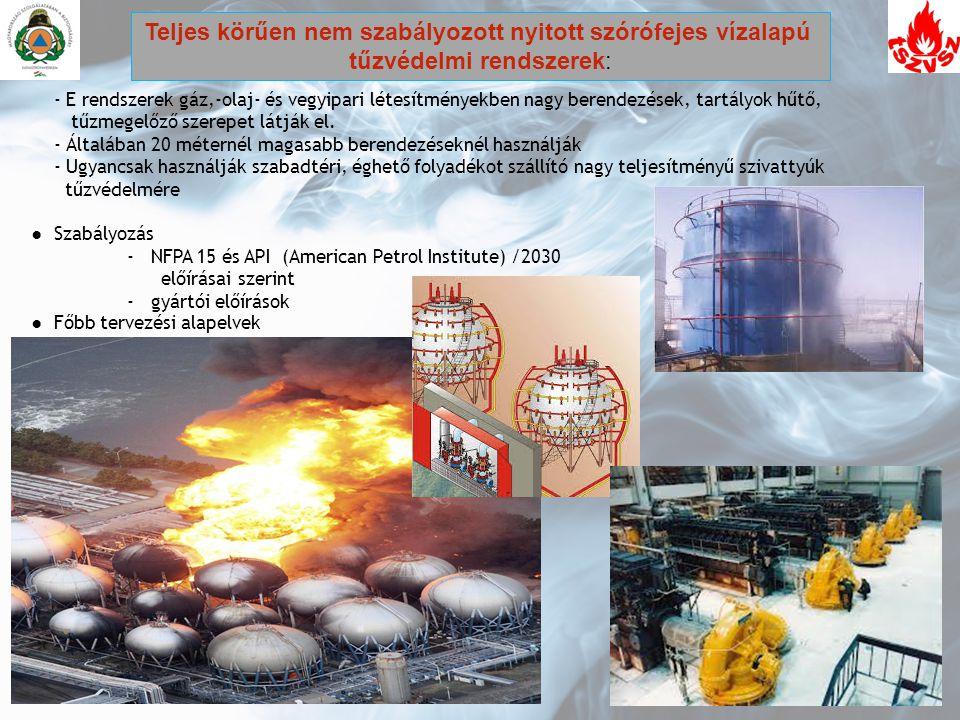 - E rendszerek gáz,-olaj- és vegyipari létesítményekben nagy berendezések, tartályok hűtő, tűzmegelőző szerepet látják el. - Általában 20 méternél mag