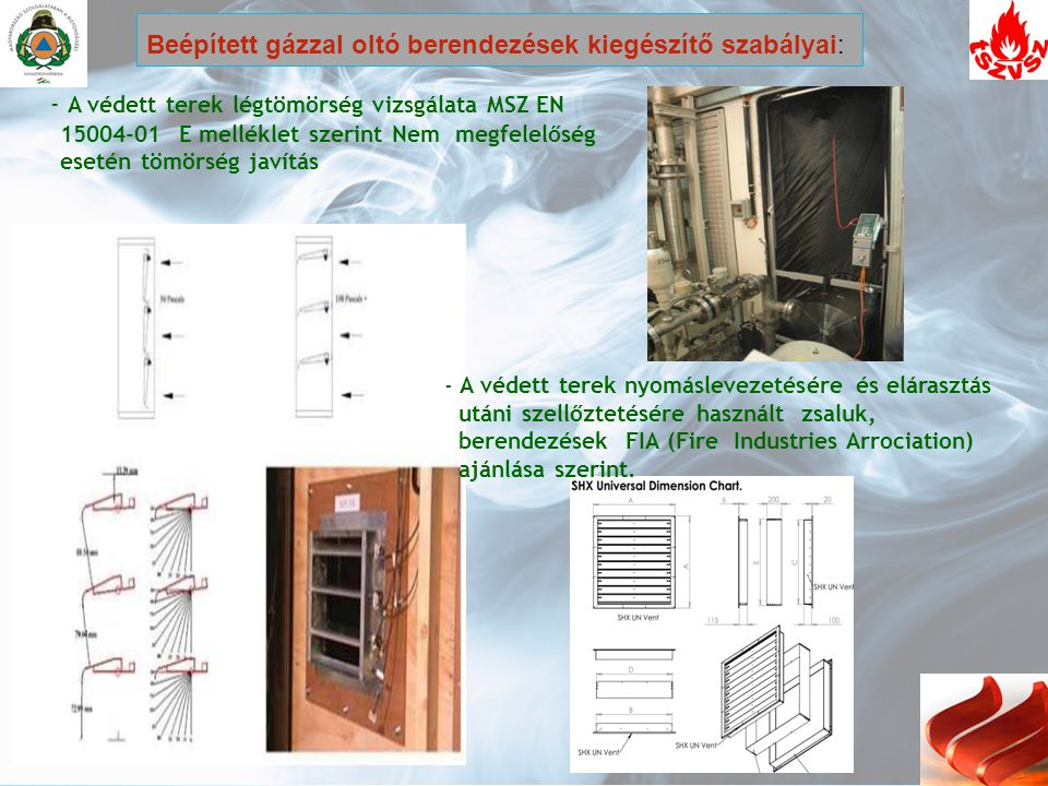 - A védett terek légtömörség vizsgálata MSZ EN 15004-01 E melléklet szerint Nem megfelelőség esetén tömörség javítás - A védett terek nyomáslevezetésé