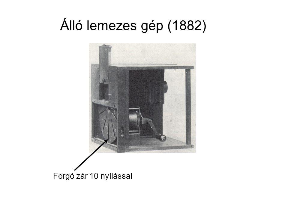Forgó zár 10 nyílással Álló lemezes gép (1882)